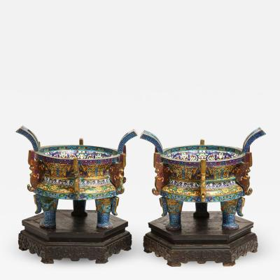 Large Pair of Chinese Cloisonne Enamel Planters on Wood Stands