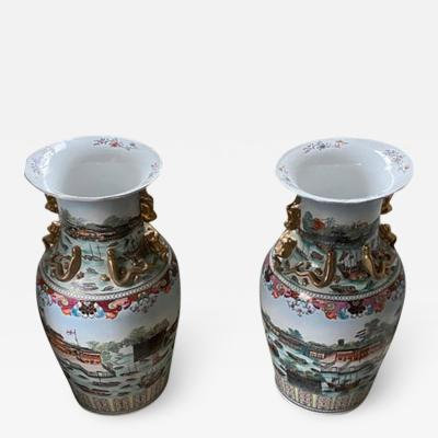 Large Pair of Chinese Porcelain Palace Vases with Views of the Hongs