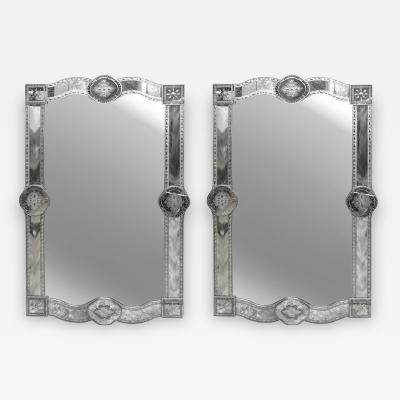 Large Pair of Custom Venitian Style Antiqued Mirrors