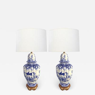 Large Pair of Dutch Delftware Blue White Glazed Ginger Jar Lamps