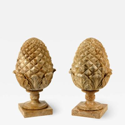 Large Pair of French Neoclassical Style Carved Buff Granite Pineapple Finials