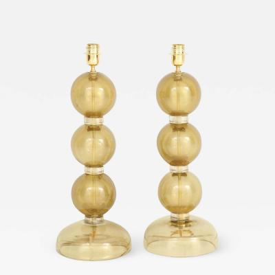 Large Pair of Gold Sphere Murano Glass Lamps Italy