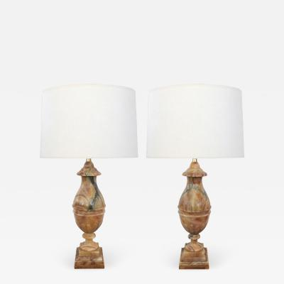 Large Pair of Italian 1950s Baluster form Carved Onyx Lamps