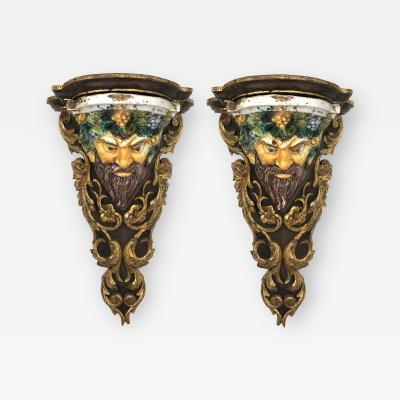 Large Pair of Italian Baroque Style Majolica Bacchus Corbels Brackets
