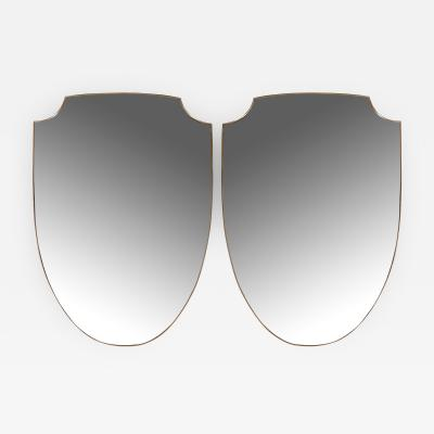 Large Pair of Italian Design Shield Shaped Oval Mirrors