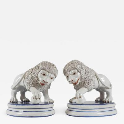 Large Pair of Italian Pottery Medici Lion Figures