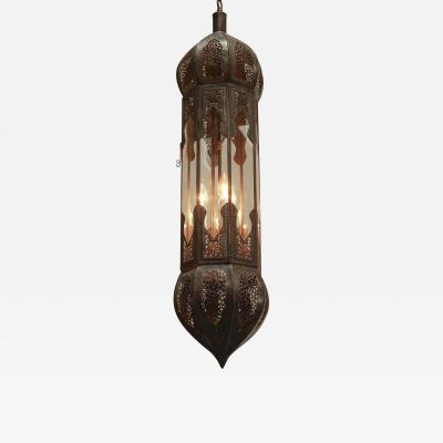 Large Pair of Metal and Clear Glass Moorish Moroccan Lanterns Light Pendants