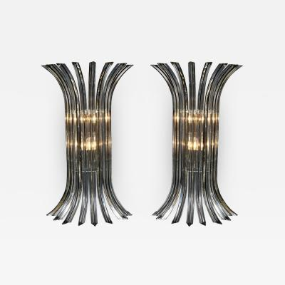 Large Pair of Murano Glass Rod Sconces in Clear with Black Vein Italy 2019