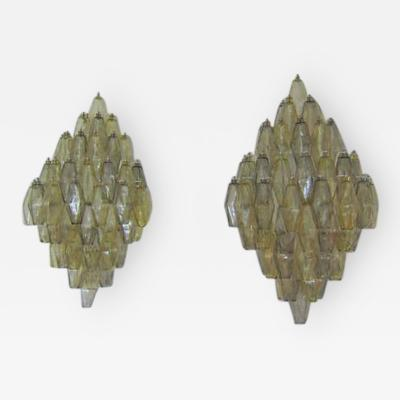 Large Pair of Poliedri Glass Sconces Italy 1970