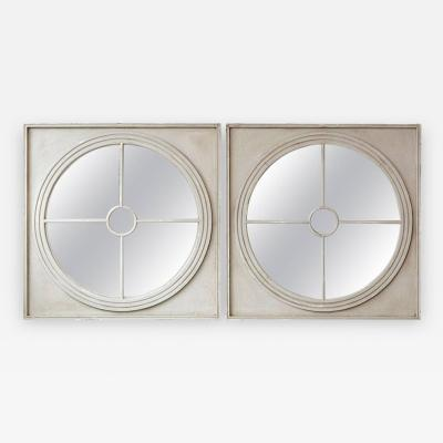 Large Pair of Round Architectural Mirrors in a Square Frame