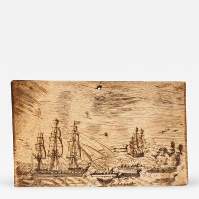 Large Pan Bone with Active Whaling Scene with Whale Ships