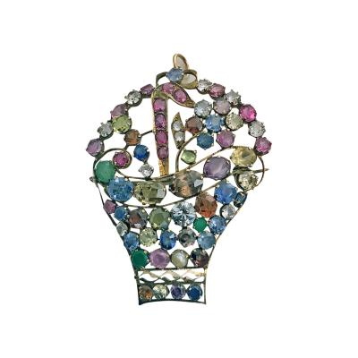 Large Period Jardiniere Gemstone and Gold Brooch Pendant C 1930