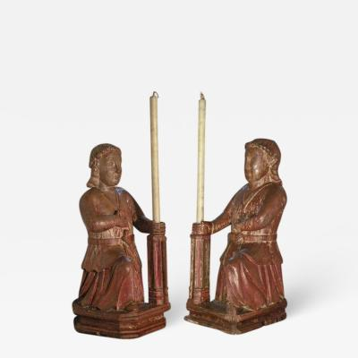 Large Rare Pair of Colonial 17th century Candle Holding Sculptures