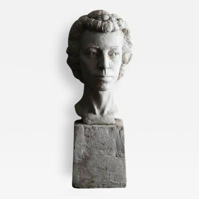Large Raw Plaster Bust of Her Majesty Queen Elizabeth II