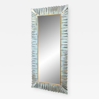 Large Rectangular Murano Sea Green Glass Framed Mirror