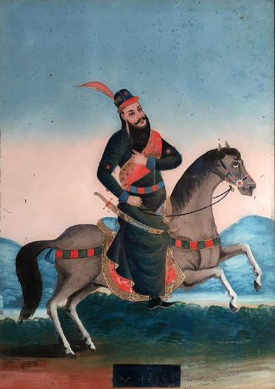 Large Reverse Painting on Glass India 19th Century