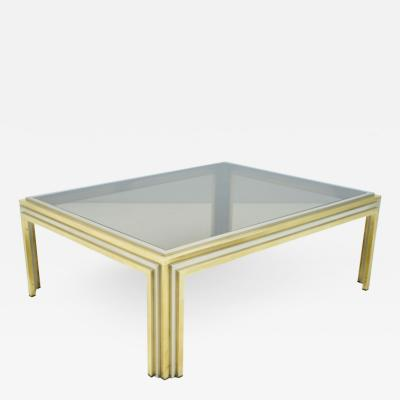 Large Romeo Rega Bi Color Coffee Table Brass Chrome and Glass 1970s