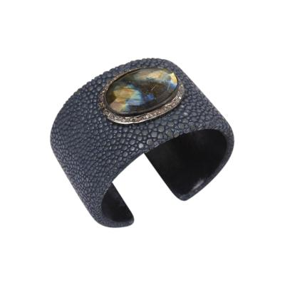 Large Rosecut Labradorite Diamonds and Shagreen Cuff Bracelet