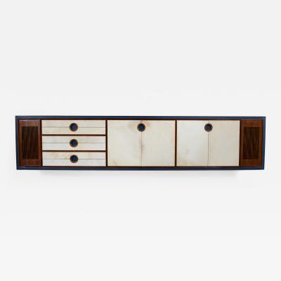 Large Rosewood and Parchment Sideboard