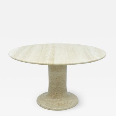Large Round Travertine Dining Table Italy 1970s