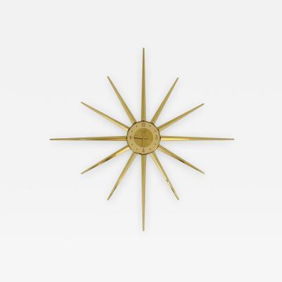 Large Roxhall Brass Spike Sunburst Clock circa 1960