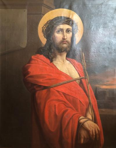 Large Scale 19th Century Oil on Canvas Painting of Jesus Christ