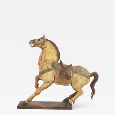 Large Scale Carved Polychromed Prancing Horse With Saddle Chinese Circa 1900