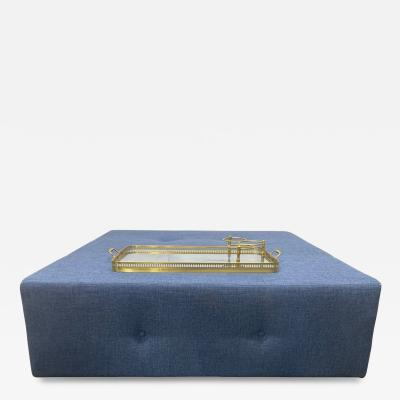 Large Scale Custom Designed Tufted Ottoman with Brass Serving Tray