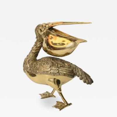 Large Scale Life Size Pelican Sculpture in Polished Brass
