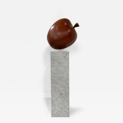Large Scale Teak Apple Sculpture on Carrara Marble Pedestal