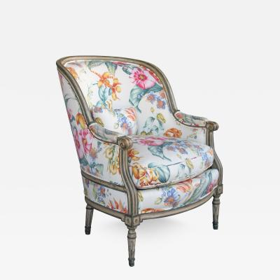 Large Scaled Louis XVI Style Painted Bergere