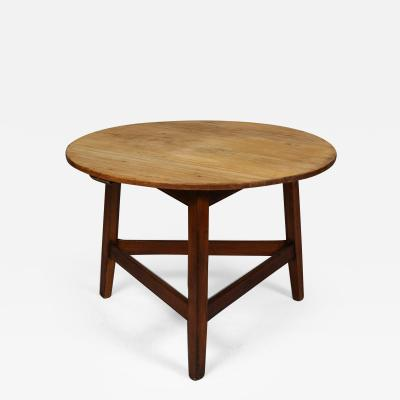 Large Scrubbed Pine and Oak Cricket Table