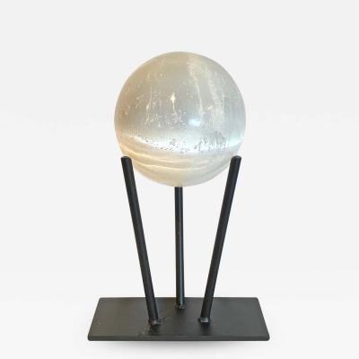 Large Selenite Sphere on Custom Iron Stand