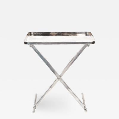 Large Silver Plate Tray with X Form Stand
