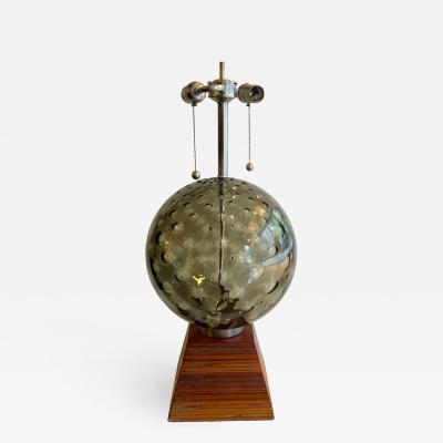 Large Smoke Glass Globe Table Lamp