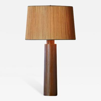 Large Solid Teak Table Lamp with Japanese Inspired Wood Shade