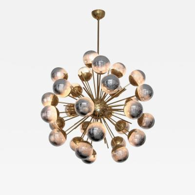 Large Sputnik chandelier in brass with glass mirror globes