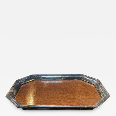 Large Sterling Silver Mounted Wood Tray Italy 1950s