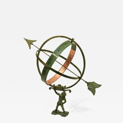 Large Swedish Copper and Wrought Iron Garden Sundial 1950 s