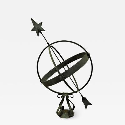 Large Swedish Wrought Iron and Copper Garden Sundial 1950 s