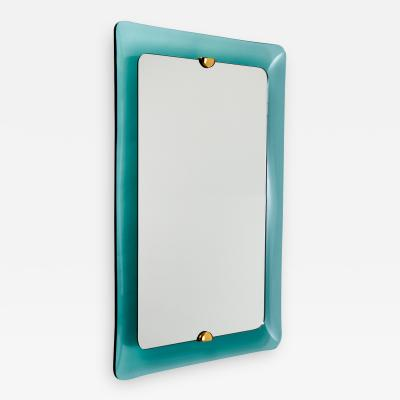 Large Teal Formed Glass Mirror Italy 1960s