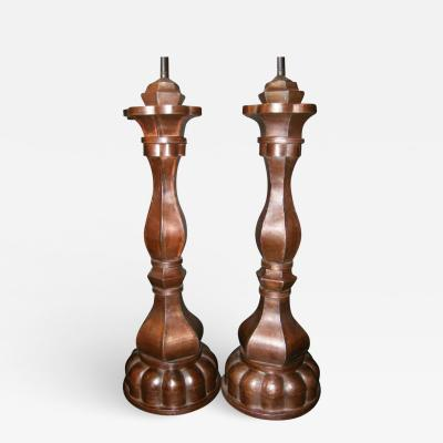 Large Tole Candle Stick Lamps