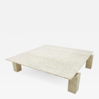 Large Travertine Coffee Table France 1960s