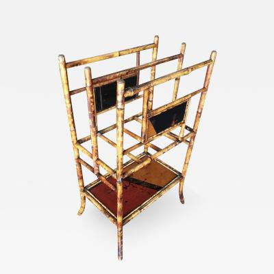 Large Two Tier Tiger Bamboo Magazine Rack with Divider
