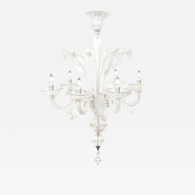 Large Venetian 6 Light Clear Glass Chandelier
