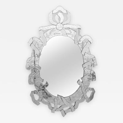 Large Venetian Mirror with Ribbon Motif Italy 1950s