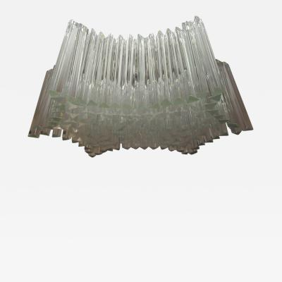 Large Venini Triedri Glass Flush Mount Chandelier