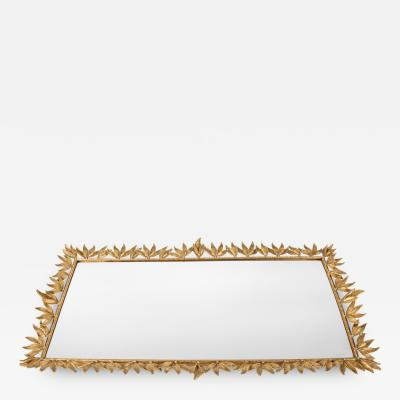Large Vintage Gilded Brass Decorative Mirrored Vanity Tray