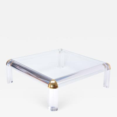 Large Vintage Lucite and Brass Square Coffee Table