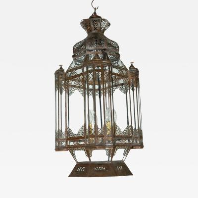 Large Vintage Moroccan Moorish Glass Light Fixture